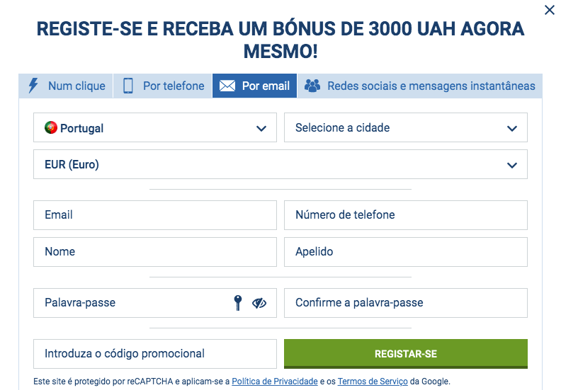 Registo 1xBet via E-mail